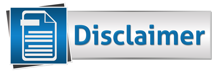Disclaimer concept image with text and related symbol.